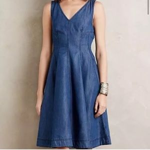 Anthropologie Holding Horses Denim Midi Dress